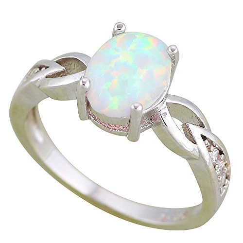 Ring for women Engagement White Fire Opal 925 Silver Stamped Rings OR890 (9)