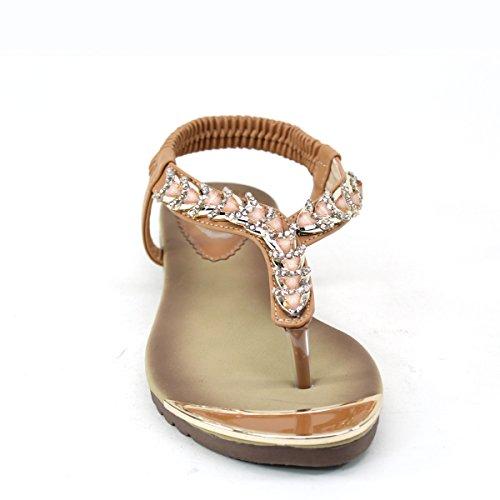 Nieuw Brieten Dames Metallic Ornament Strappy Bungee Flip-flop String Comfortabele Platte Sandalen Kameel