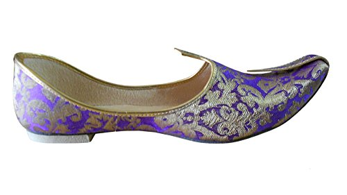 Kalra Creations - Zapatillas de estar por casa de Seda para hombre Golden Blue