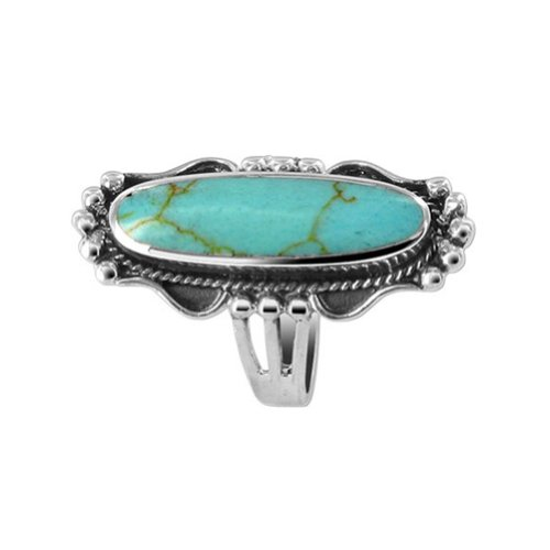 Gem Avenue 925 Sterling Silver Simulated Turquoise Gemstone Ornate Ring Size 6