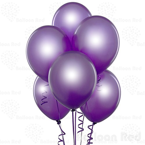 10 Inch Pearlized Latex Balloons (Premium Helium Quality), Pack of 24, Metallic Purple (Pink And Black Damask Party Supplies)