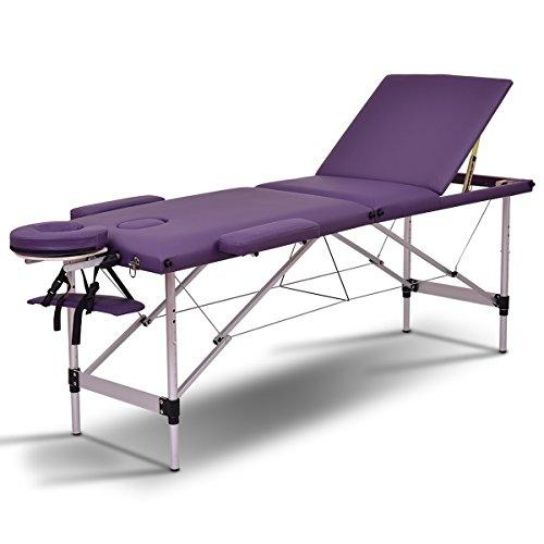 Giantex 72″L Portable Massage Table Aluminum Facial SPA Bed Tattoo w/Free Carry Case (Purple)