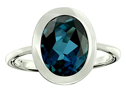 RB Gems Sterling Silver 925 Ring Genuine Gemstone Oval 10x8 mm with Rhodium-Plated Finish, Bezel-Setting (10, London-Blue-Topaz)