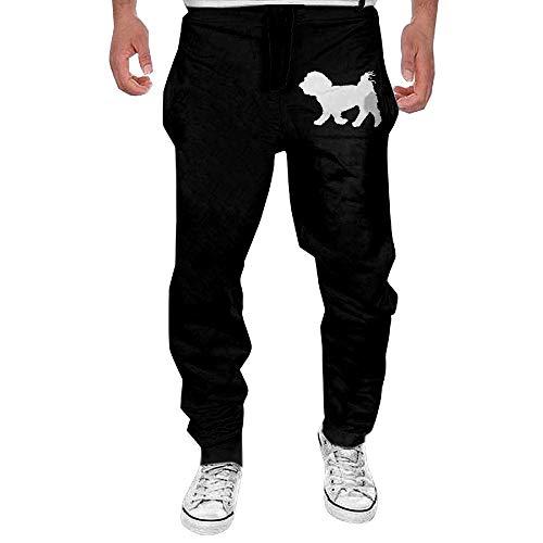 Men's Maltese Dog Silhouette Sport Cotton Jogger Pants,Running Beam Trousers