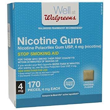 (Walgreens Nicotine Gum, 4mg, Original 170 ea)