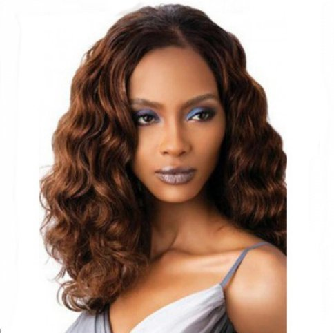 [Fashion Overhead Brazilian Hair with Side Bangs Curly Mixed Color Wigs for Black Women Cosply Party] (Sexy Glamour Wig In Auburn)