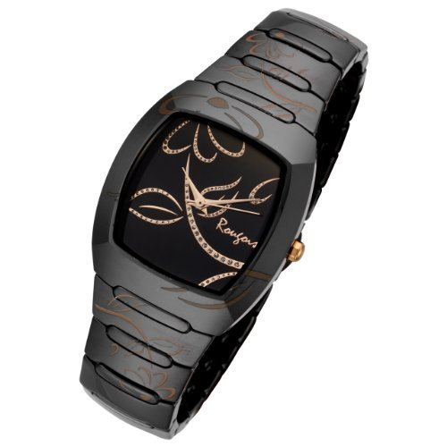 Gold Accent Series (Rougois Ladies Bloom Series Black Ceramic Rose Gold Accents Watch Rc2377brg)