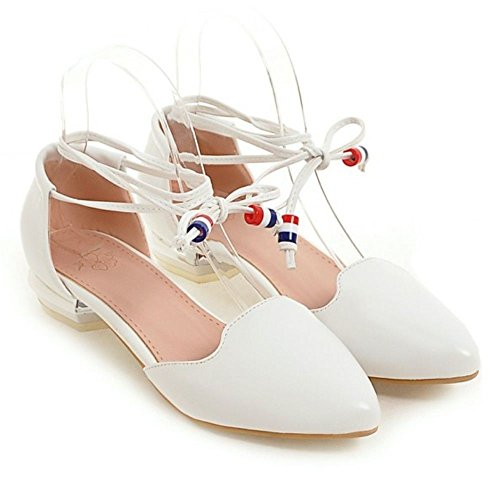 up Women White TAOFFEN Sandals Lace Summer Pvqqwta