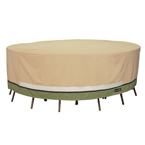 Sure Fit Deluxe Round Table and Chair Set Cover, Taupe