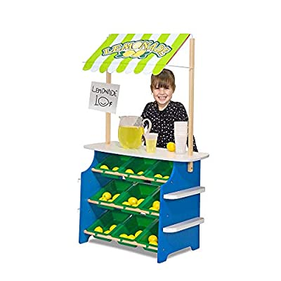 Melissa & Doug Wooden Grocery Store and Lemonade Stand - Reversible Awning, 9 Bins, Chalkboards: Melissa & Doug: Toys & Games