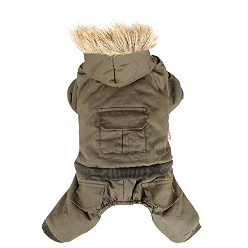 PAWZ Road Pet Clothes Hoodie Dog Winter Coat Warm Jacket Super Warm and Strong Green S - Winter Jackets For Dogs