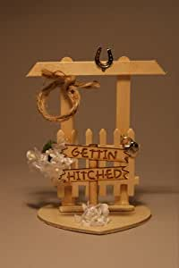 Gettin' Hitched Western Cake Topper or Table Decoration