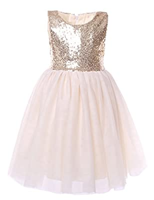 Cilucu Flower Girls Dresses Kids Birthday Party Dress Toddlers Sequin Tutu Dress Pageant Gown Sleeveless Gold
