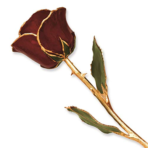 Venture Collections Burgundy Lacquer Dipped 24K Gold Trimmed Genuine Rose w/Green Leaves Stem in Gift Box