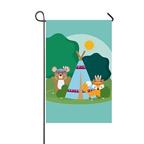 Lucy Curme Bear And Fox Seasonal Garden Flag, Double-sided,