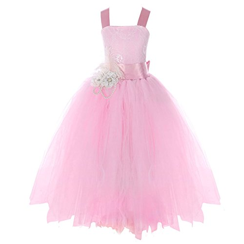 FAYBOX Pageant Wedding Flower Girl Dress Crossed Back Bow Feather Sash Fluffy 10 -