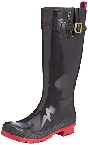 Joules Womens Field Wellies Glossy Rain Boot Slate Size 5