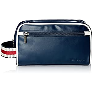 Ben Sherman Men's Regent's Park Smooth Pvc Single Compartment Top Zip Travel Kit, Navy/White