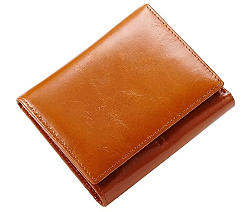 Heshe Womens and Mens Leather Slim Wallets Money Clips Trifold Mini Wallet (Camel)