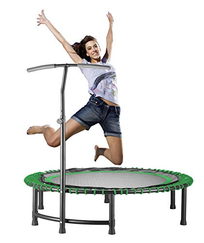 CASTOOL Trampoline for Adults and Kids.Jump Sport Quiet Fitness Mini Circular Rebounder Trampoline with Adjustable Handlebar,Safe Indoor Fitness/Home Workout Cardio Training for Adults (Green)