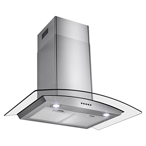 Perfetto Kitchen and Bath 30″ Convertible Wall Mount Range Hood in Stainless Steel with LEDs, Push Controls & Tempered Glass