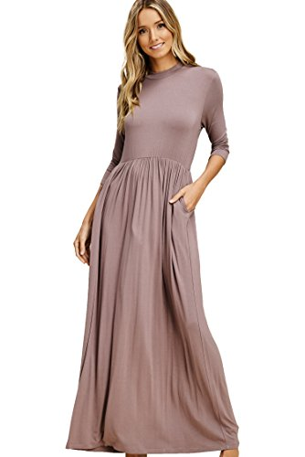 Annabelle Women's Solid Print All Around Pleated Full Length Maxi Plus Size Dress with Round Neck 3/4 Sleeve and Side Pockets Taupe Grey XXX-Large D5185PK -