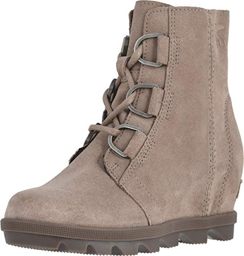 Sorel - Youth Joan of Arctic Wedge II Ankle Boot for Kids, Suede, Ash Brown/Black, 5 M US ()