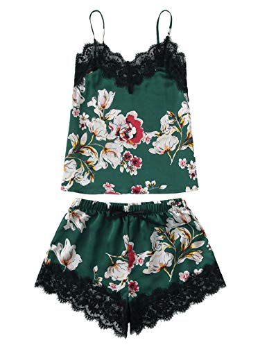 MAKEMECHIC Women's Lace Satin Sleepwear Cami Top and Shorts Pajama Set Green-Floral L (Cami Pajama Top Women)