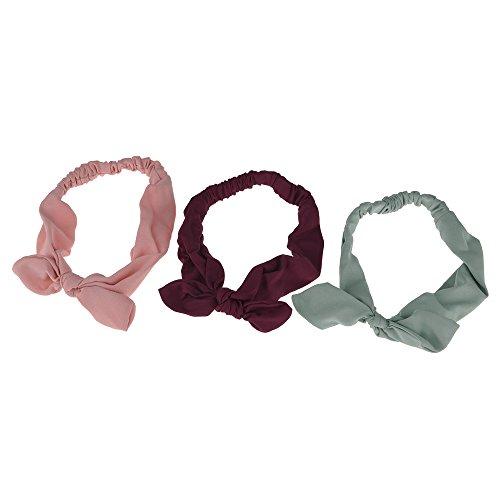 Rabbit Bowknot (WEKA Women Cute Solid Color Materials Stretchy And Flexible Rabbit Ear Bowknot Headband Hairband Headwear Head Wrap Soft Hand Feeling-Wine Red)