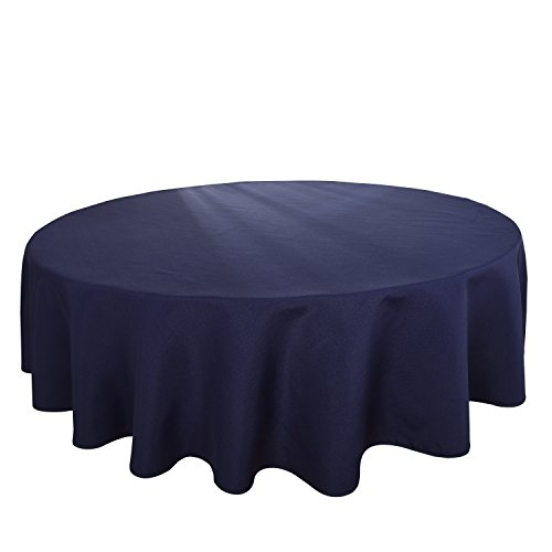 HIGHFLY Linen Round Tablecloth 90 inch Waterproof Navy Blue Tablecloth Wedding Party Restaurant