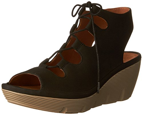 - CLARKS Clarene Grace Womens Wedge Sandals Black Nubuck 8.5