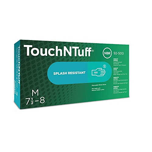 Ansell 105112 Touch N Tuff 92500 5 Mil 9-1/2'' Disposable Nitrile Industrial Gloves, 0.09'' Height, 9.5'' Length, 3'' Wide, Large, Teal (Pack of 100) by Ansell (Image #1)