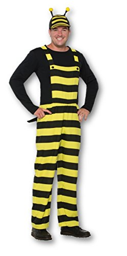 Forum Novelties Worker Bee Stripped Overalls & Hat Costume, Black/Yellow, Std