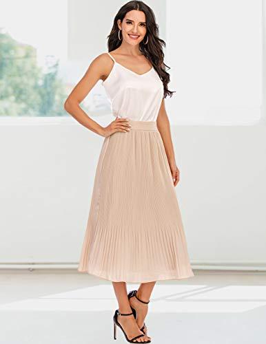 DRESSTELLS Women Pleated Midi Skirt A Line Swing Skirt Fall/Winter Casual High Waist Skirt
