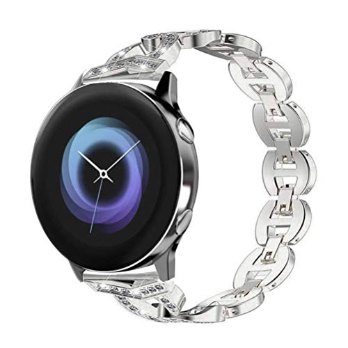 YOFUNTLE Compatible for Samsung Galaxy Watch Active/Galaxy Watch 42mm Bands,Women 20mm Alloy Crystal Bracelet Strap Replacement Wrist Band for Galaxy Watch Active 40mm/Galaxy Watch 42mm(Silver)