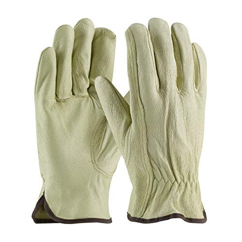 - Pig Skin Leather Work Driver Gloves Softer Compared to Cowhide (Large 12 Pack)