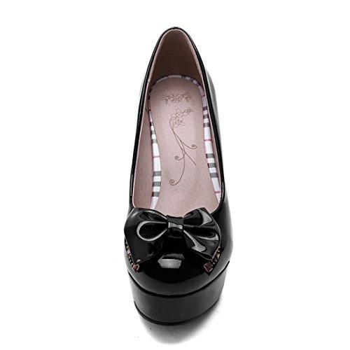 YE Damen Lack Pumps Geschlossene Bolckabsatz High Heels Plateau mit Schleife und 11cm Absatz Elegant Party Schuhe Schwarz
