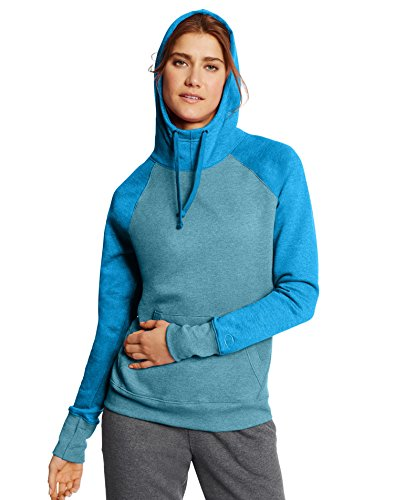 Champion Women's Fleece Pullover Hoodie: Faded Indigo Blue Heather/Underwater Blue Heather, L
