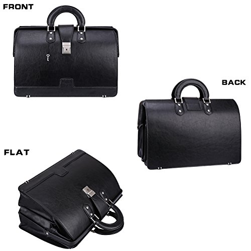 Ronts Mens PU Leather Briefcase Lawyer Attache Case with Lock 15.6 Inch Laptop Business Bag, Black by Ronts (Image #2)