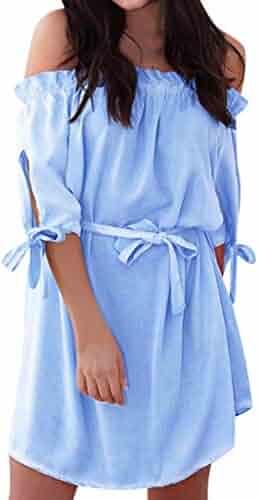 4d2269212a Sunhusing Ladies Solid Color Off-Shoulder Pleated Ruffle Bow Cuff Lantern  Sleeve Half Sleeve Waist