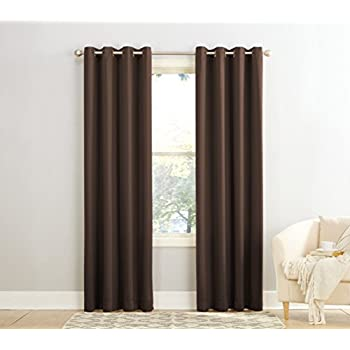 Sun Zero Barrow Energy Efficient Grommet Curtain PanelChocolate Brown54