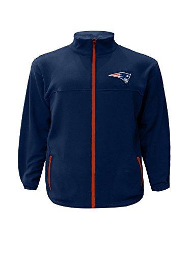 (NFL New England Patriots Men FULL ZIP POLAR FLEECE, NAVY/RED, 5X)