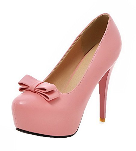VogueZone009 Women's High-Heels PU Solid Pull-On Round-Toe Pumps-Shoes Pink oiOZyOK6AW