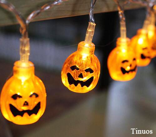 Tinuos Battery Operated LED Fairy String Lights 3D Pumpkin 20 LED Lights Halloween Christmas Decoration Lights