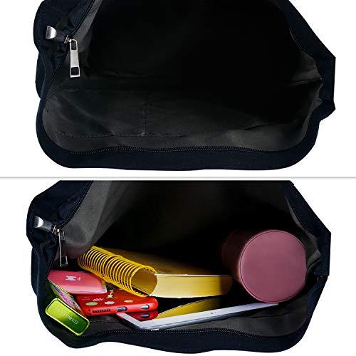 Crossbody Bolsas Hombro de Bolsos Bolsos Hobo para Negro Bolso Lona Mujer de Bag Multifuncional Bandolera de Fanspack wqOvqP