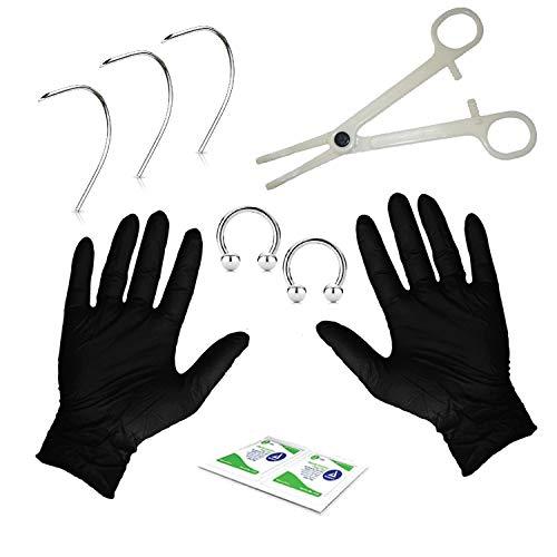 BodyJ4You 10PC PRO Piercing Kit CBR Horseshoe Eyebrow Nipple Lip 16G Curved Needles Body Jewelry ()