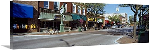 Canvas On Demand Premium Thick-Wrap Canvas Wall Art Print entitled Cars parked in front of stores Traverse City Grand Traverse County Michigan - Traverse Stores In City