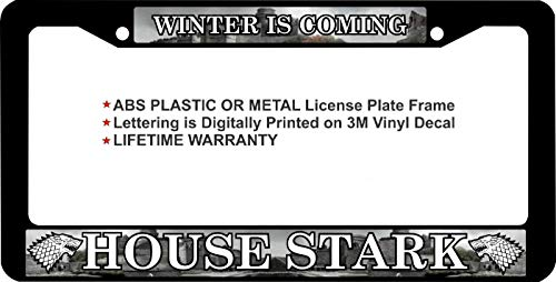 First Rober Game of Thrones Winter is Coming House Stark Aluminum Alloy License Plate Frame Black Cover 2 Hole 12