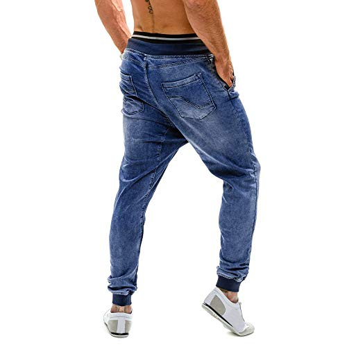 Non Yunyoud mainstream Blu Denim Calore Fit Uomo Jeans Per Con Stile Pantaloni Leggings Glamour E Piedini Uno Coulisse In Slim Elasticizzato Consumato Da 1r1BqwR