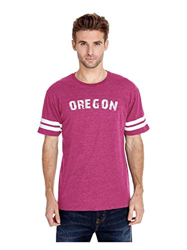 Oregon State Flag Portland City Traveler`s Gift Adult Unisex Football Fine Jersey Tee (2XLHTP) Hot Pink